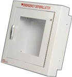 "Our semi-recessed AED cabinets feature a 3"" rolled edge to comply with the ADA's requirements. Our Semi-Recessed AED cabinets feature a white epoxy finish, graphics on the interior window of the door. Meets ADA standards. 180SR3-1"