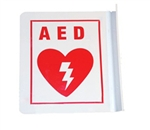 "AED Sign L Shaped 6"" x 5"". AED sign features the universal AED symbol and the letters A.E.D on the front and back. Acrylic material.CU-82047"