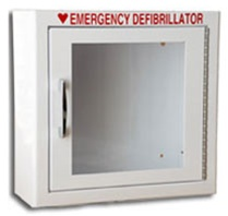 AED Cabinets - Small Wall Mount AED cabinet. Choose your Modern Metal AED cabinet with or without an alarm and strobe. AED wall mount cabinets at the lowest prices. 145SM