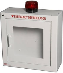Alarmed AED Cabinet with strobe- Protect your AED with one of our Alarmed AED Cabinets with strobe. The Modern Metal AED cabinet with strobe features a loud alarm with visual confirmation that the alarm has been activated. 180SM-14R