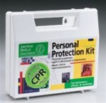 This bloodborne Pathogen PPE kit includes a CPR one-way valve faceshield as part of the complete head-to-toe defense package against bio-hazardous contaminants. Every aspect of this kit meets with federal OSHA recommendations. 213-F