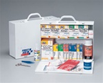 This 2-shelf, 515-piece industrial first aid station is designed as an auxiliary kit for smaller businesses, offices and work sites and serves up to 75 people. Color-coded for easy identification in an emergency. Meets or exceeds OSHA and ANSI. 245-O