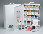 This 4-shelf, 1,059-piece industrial first aid station meets and exceeds OSHA recommendations for businesses, offices and work sites. Serves up to 150 people. The swing-out door and easy-to-carry handle add extra convenience. 248-O
