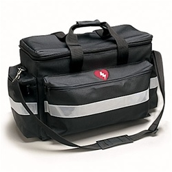 Our AED rescue bag is designed for easy transport and storage. This durable bag features double zipper for easy access, shoulder strap and pockets for your defibrillator and accessories. 4210-05