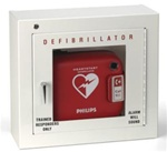 Philips alarmed AED cabinet- Basic Alarmed AED wall mount cabinet in steel with Glass front. Basic audible alarm included. 989803136531