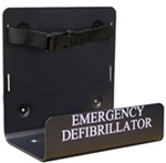 The Defibtech AED wall mount bracket is made of black metal and designed to be mounted to a wall for easy access. The Defibtech AED wall mount bracket fits the Defibtech Lifeline and Reviver AED's. DAC-200