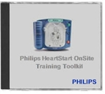 The Philips Onsite AED training toolkit includes instructional aids, such as a DVD and CD with a PowerPoint presentation, for teaching groups of
