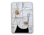 Philips Adult AED Pad Placement Guide- The Philips Adult pad placement guide shows pad placement on a patient. Used for training purposes. M5090A