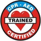 "CPR and AED Certified Sticker. The hard hat ""CPR and AED Certified"" sticker is a great incentive for workers attaining that extra skill. Indoor/Outdoor Vinyl Film. CPR and AED certified sticker works well on hard hats and other surfaces. NW212"