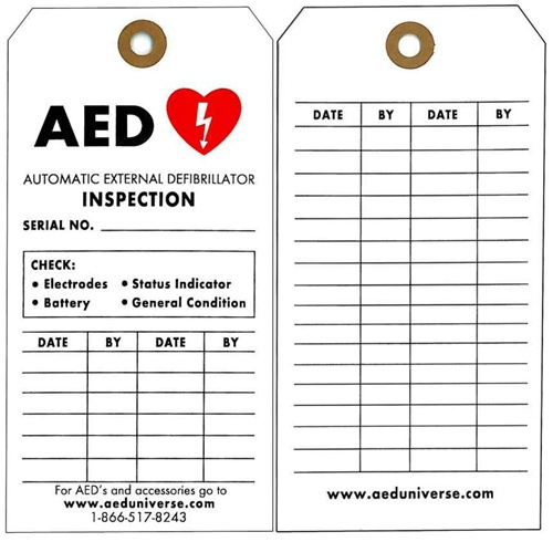 AED Inspection Tags, AED Inspection Records, 5 pack