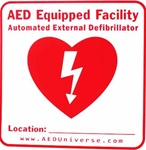 "AED Location Sign- Easily let others know where your AED is located with an ""AED Equipped Facility"" sticker from AEDUniverse.com. NW774698"