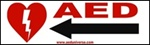 "AED Signs- Quickly identify the location of your AED with directional stickers from AEDUniverse.com- Left Arrow. 3"" x 10"" AED Sticker, NW889908"