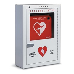 The Philips Defibrillator or AED Cabinet is constructed of heavy gauge steel and tempered glass, protects your defibrillator from theft and the elements.