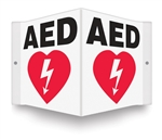 AED Sign- V Shaped AED wall sign lets people know where the AED, Automated External Defibrillator is located. PSP609