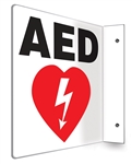 "AED Sign L Shaped 8"" x 8"". AED sign features the universal AED symbol and the letters A.E.D on the front and back. This AED sign is easily installed using 2 screws or adhesive (provided). PSP708"