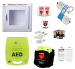 ZOLL AED Plus Business AED Package. The ZOLL AED Plus package includes a ZOLL AED and all the needed AED accessories for your workplace AED program.